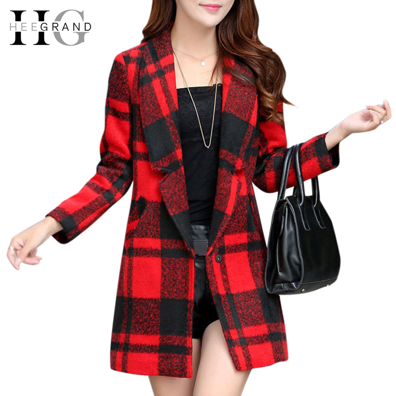 Classic Plaid Winter Autumn Women Wool Coat 2015 Slim Turn-Down Collar Long Full Sleeve Single Button Manteau Femme WWN837Одежда и ак�е��уары<br><br><br>Aliexpress