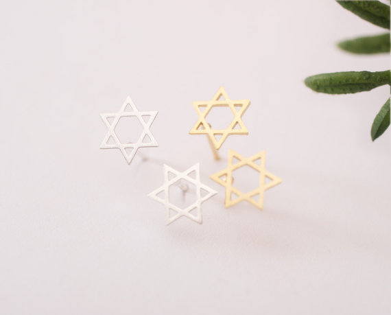 Gold Silver Plated 30pairs/lot Wholesale Fashion Jewelry Stainless Steel Star Of David Stud Earrings For Women Best Friend Gift<br><br>Aliexpress
