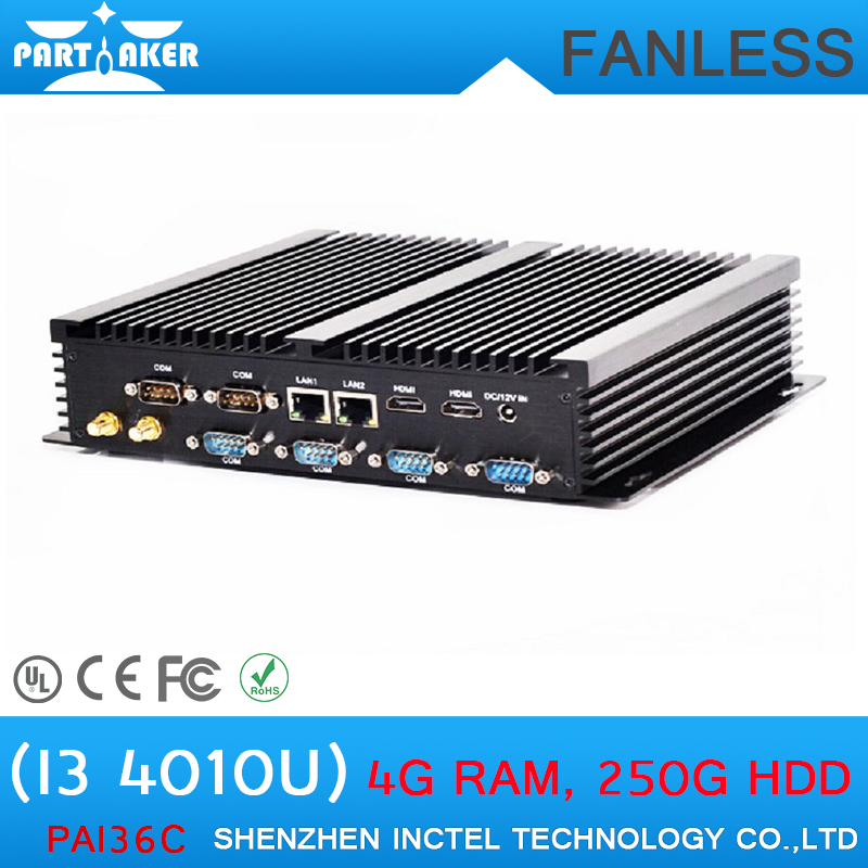 Popular i3 fanless mini pc industrial pc with intel Core i3 4010U with 6 RS232 Ports 2 HDMI Ports<br><br>Aliexpress