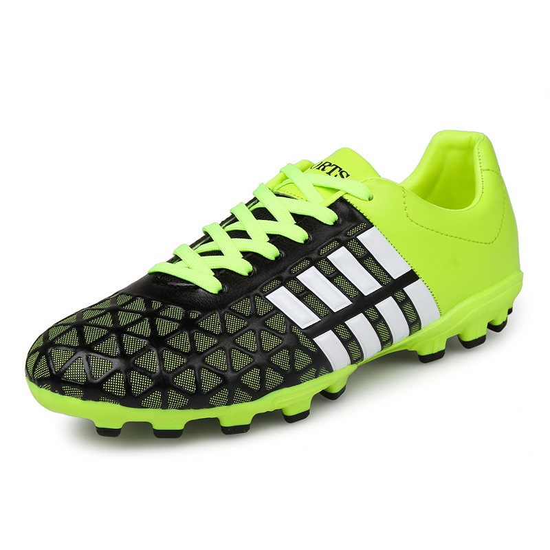 Football Training Shoes Red Green Soccer Shoes For Men Cheap Football Cleats Leather Artificial Grass Soccer CleatsSneaker(China (Mainland))