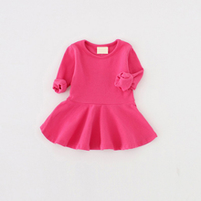 2016 Fashion Baby Girls Dresses Long Sleeve Casual Children Clothes for Girls Solid Candy Colors Basic Dresses for Babies S4-68
