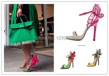 Explosion Modelle 2014 NEUE Frauen-sophia Webster Colorful Butterfly Sandaletten Pumps 10 cm Dünne Ferse Peep Toe Schuhe(China (Mainland))