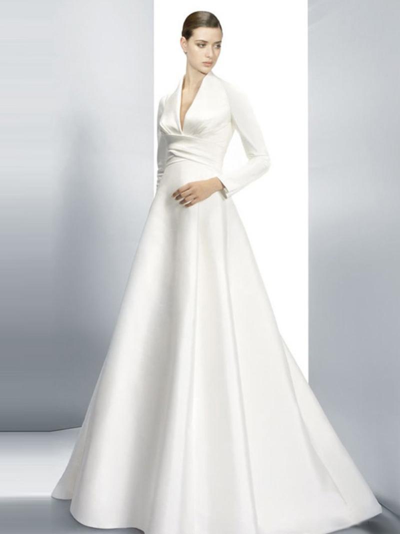 Tailored made elegant white ivory a line v neck chapel for V neck long sleeve wedding dress