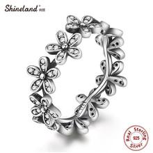 Shineland 2017 Новое Прибытие 100% Стерлингового Серебра 925 ААА Цирконий Популярный Цветок Палец Кольцо Старинные Моды Свадебные Украшения(China (Mainland))