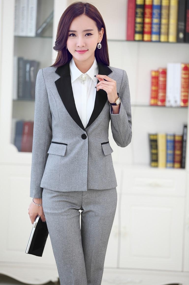 Plus Size 4XL Formal Uniform Styles Fashion Slim Professional Business Suits Jackets And Pants Autumn Winter Female PantsuitsОдежда и ак�е��уары<br><br><br>Aliexpress