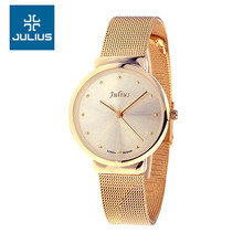 Julius Lady Women's Thin Wrist Watch Quartz Hours Best Fashion Dress Korea Bracelet Stainless Steel Band Lover's Gift JA426(China (Mainland))