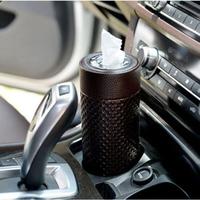 High-Grade Leather  Car Paper Towel Tube Car Tissue Holder Pumping Paper Towel Tube Tissue Box Creative Round Box