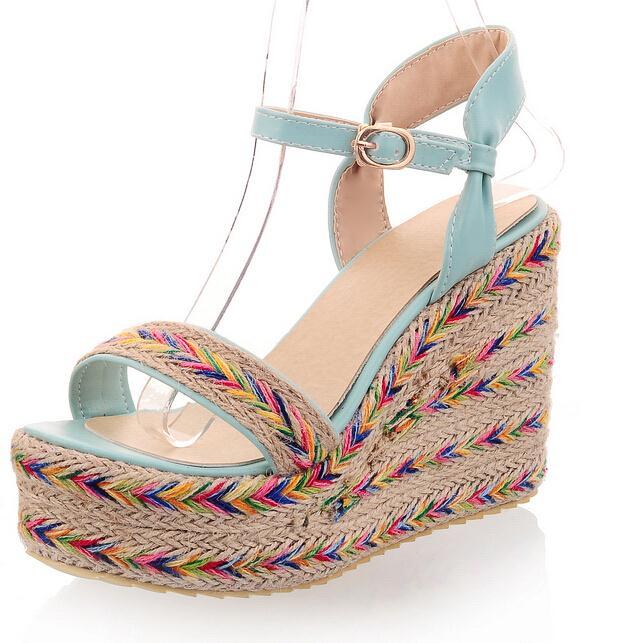 ENMAYER Spring Summer Women shoes Leather shoes Sandals High heels Platform Wedges Buckle gladiator sandals women Summer sandals<br><br>Aliexpress