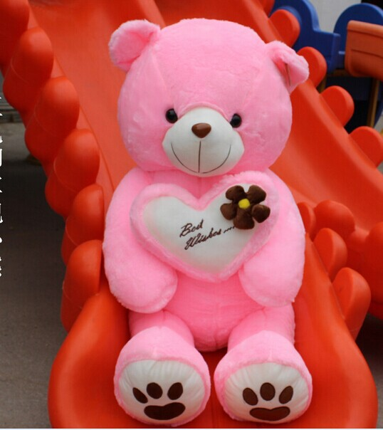 huge pink plush teddy bear toy big lovely heart bear with 'best wishes' on the heart gift about 120cm(China (Mainland))