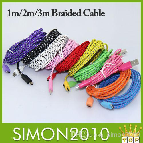 Wholesale - 3m 2m 1m Fabric Braided Nylon Data Sync USB Cable Cord Charger Charging Coloful samsung s4 s5 blackberry z10 HTC Nok(China (Mainland))