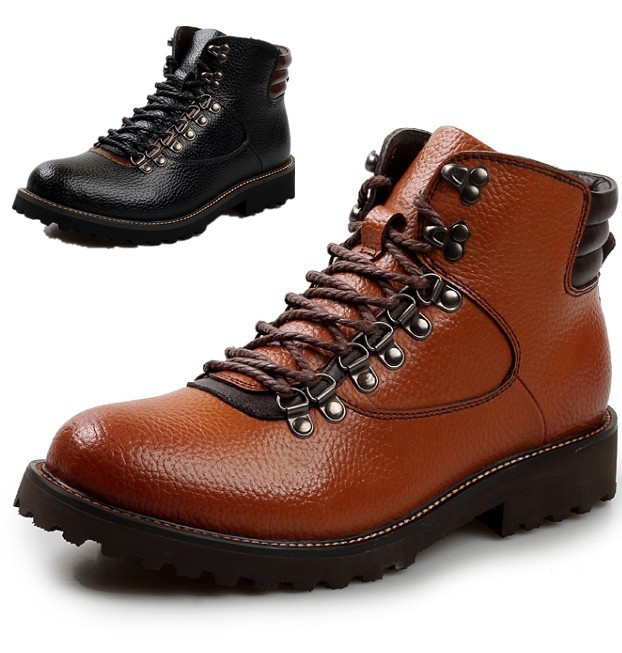 autumn Winter boots New Stylish men boots genuine leather Lace-Up Warm Plush Fur Boots Cow Leather Shoes