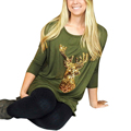2016 Fashion Women T shirts Casual Christmas Tee Shirt Loose Tops Long Sleeve Women Reindeer Sequins