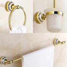 Luxury bath accessory set 3 pecs Golden Bathroom accessories towel ring+toilet brush holder+single Towel Bar