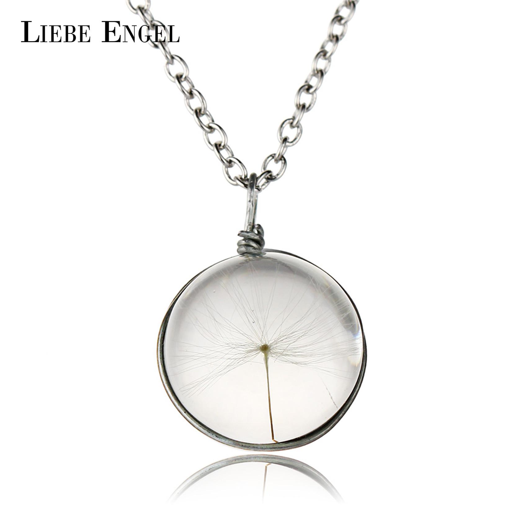 2016 New Arrival Fashion Dandelion Crystal Glass Pendant Dried Flower Silver