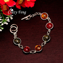 Free shipping Women/Lady's Vintage Retro Silver Plated Bohemia Colorful amber Gem Round Bracelets & Bangles Jewelry(China (Mainland))