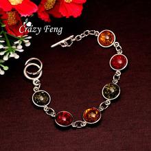 Free shipping Women/Lady's Vintage Retro Silver Plated Bohemia Colorful amber Gem Round Bracelets & Bangles Jewelry(China (Mainland))