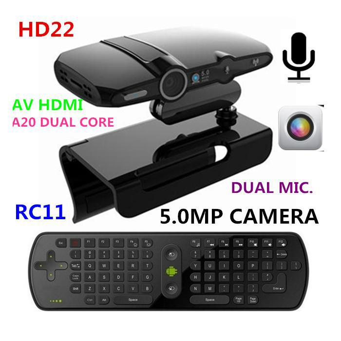 New! 2.0MP and Mic Android TV camera HDMI 1080P 1GB/8GB android 4.4 skype Google Android TV box HD22 + Measy RC11 Air Mouse(China (Mainland))