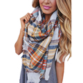 Fashion Plaid Girls Scarf Cashmere Pashmina Designer Blanket Tartan Brand Shawl Thicken Hot Handkerchief Soft Winter