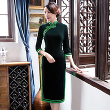 Buy New Arrival Fashion Green Velour Mini Cheongsam Chinese Women's Dress Elegant Qipao Vestidos Size S M L XL XXL XXXL 27599A for $42.00 in AliExpress store