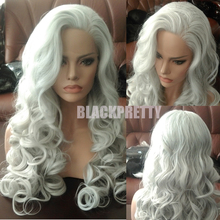 Fashion Wavy Silver Gray Wig BodyWave Synthetic Lace Front Wig Glueless Long Natural White Gray Heat Resistant Wigs For Women(China (Mainland))
