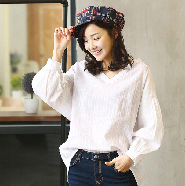 Free Shipping 2015 New Spring Summer Women Korean Fashion Style Slim V-neck All-match Long Batwing Sleeve Cotton Linen Blouse(China (Mainland))