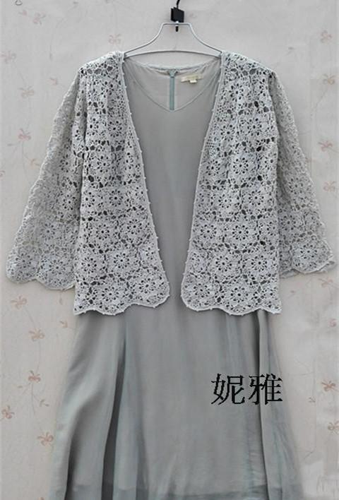 Lace cotton parquet long-sleeve cutout crochet handmade knitted shirt - ni jas crafts pavilion store