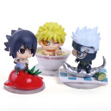 Anime Naruto Sasuke Kakashi Lunch Ver. Mini PVC Figure Collection Model Toys 3pcs/set 4.6cm NTFG076 - Pekkasland Figures & Stuffed Dolls Center store