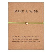 10*7.5cm sprawi, że życzenie papier karty miłość tkane regulowana bransoletka modna biżuteria na prezent dla kobiet, mężczyzn, dzieci(China)