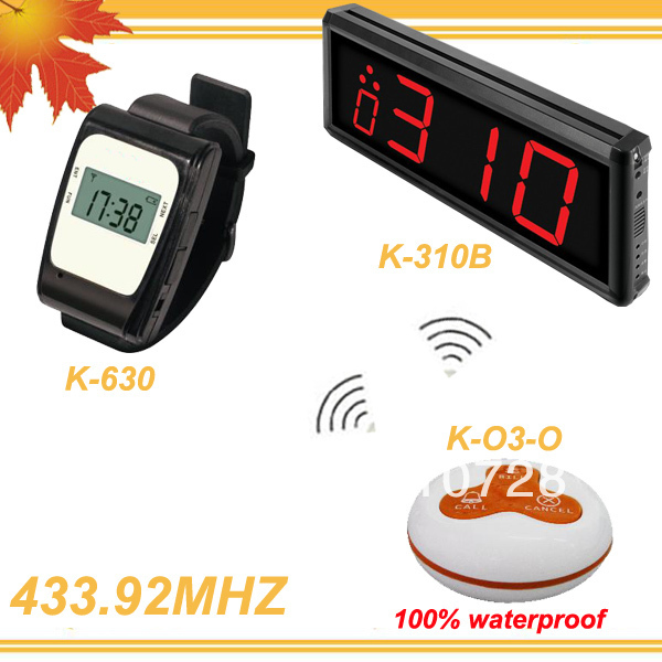 433.92MHZ tabletop service bell waiter calling system watch receiver LED display wireless table restaurant equipment for sale