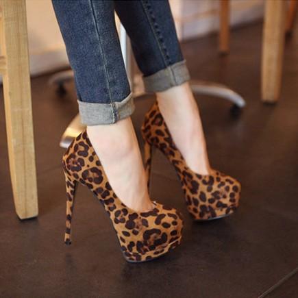 2016 new fashion leopard print pumps women 13cm ultra high heels sexy thin heels pumps princess leopard shoes(China (Mainland))