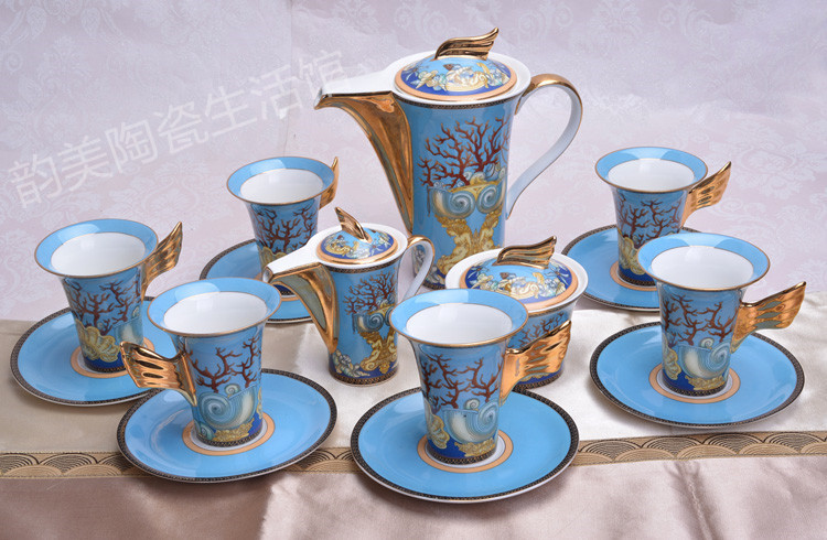 European wind bone china ceramic Coffee cup and saucer set bone china Tea Set housewariming wedding