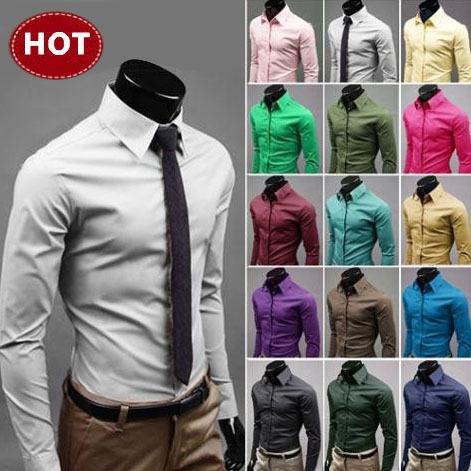 2015 Mens Slim fit Unique neckline stylish Dress long Sleeve Shirts Mens dress shirts 17colors size