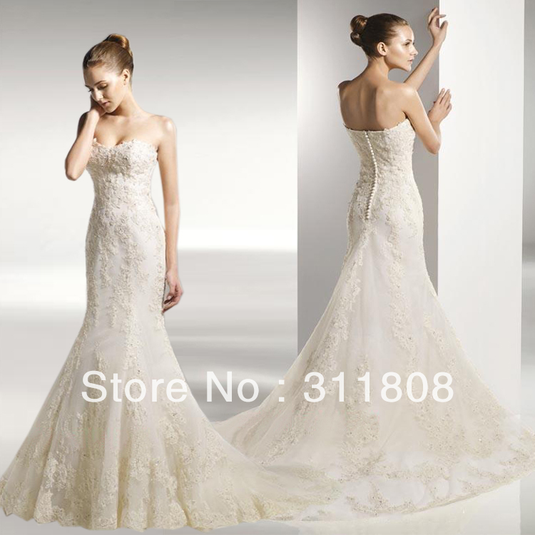 2013 new strapless mermaid wedding gowns top quality sweet for Heart shaped mermaid wedding dresses
