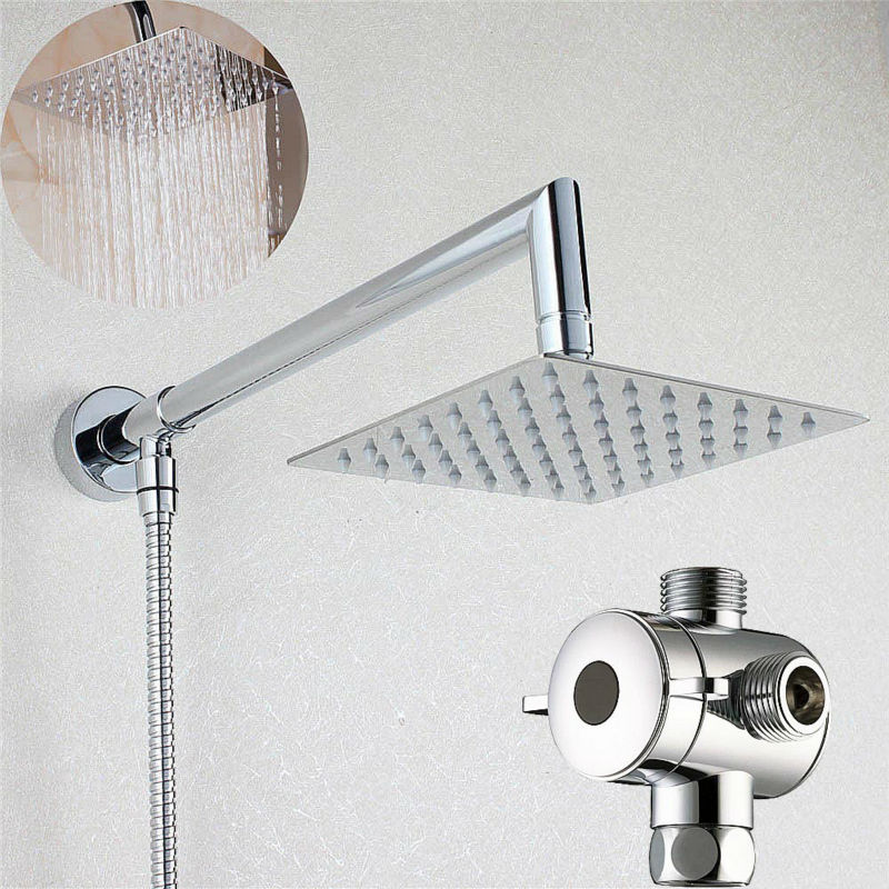 Attrayant Square Rainfall Shower Head With Shower Arm Boom Entry With Diverter U0026  Hose03 005