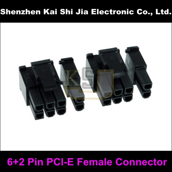 50sets / Lot 8( 6+2)- Pin Female GPU PCI-Express PCIe Computer Cable Connector - Black(China (Mainland))