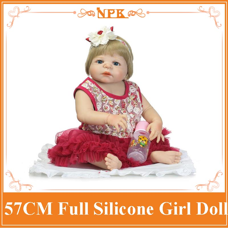 Super Fashion All Non-toxic Silicone Reborn Baby Doll With High Class Summer Style Dress Good Price Bonecas Baby Alive As Gift(China (Mainland))