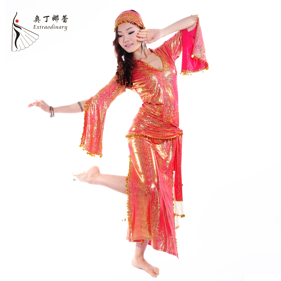 2014 Belly Dance Costume Professional Belly Outfit for Women Belly Skirts Belly Dance Costume Clothing sets Dress,Belt, Kerchief(China (Mainland))