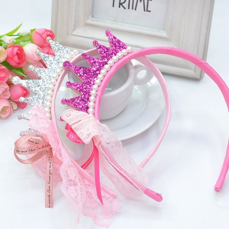New 2016 Girls Hair Bands Pearls Resin Diamond Lace Bow Ribbon Crown Princess Children Accessories Hair Accessories Hair Band(China (Mainland))