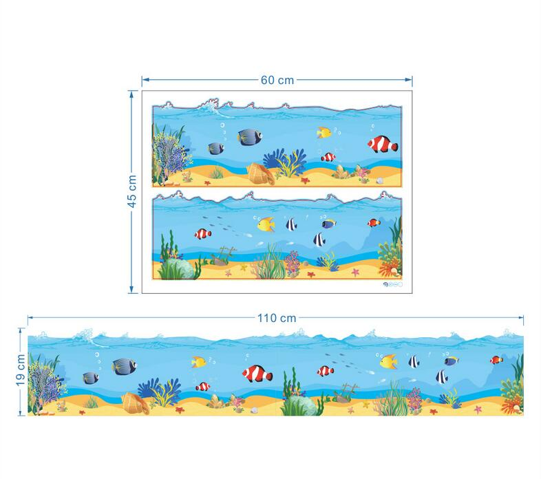 new sea world ocean park vinyl wall border decals mural stickers for nursery kids rooms boys rooms(China (Mainland))