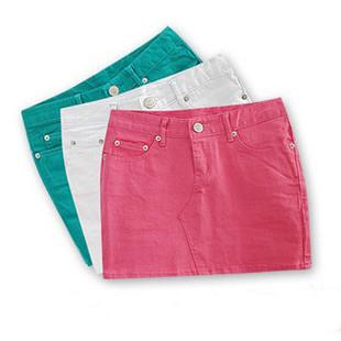 2014 spring quality elastic 100% cotton candy multicolour a-line skirt bust slim hip short women's - Li Mrs's store