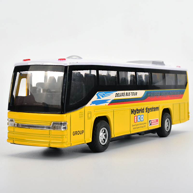 Free Shipping Diecast Kids Toys Bus Model, Car With Openable Doors/Pull Back Function/Light/Sound/For Children As Gift(China (Mainland))