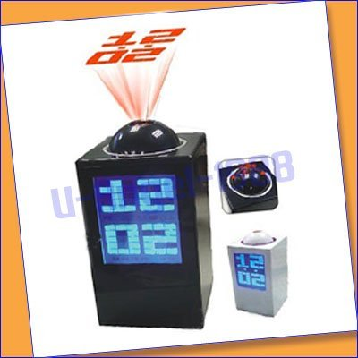 Digital Desk Projector LED Alarm Clock Time Projection black+free shipping