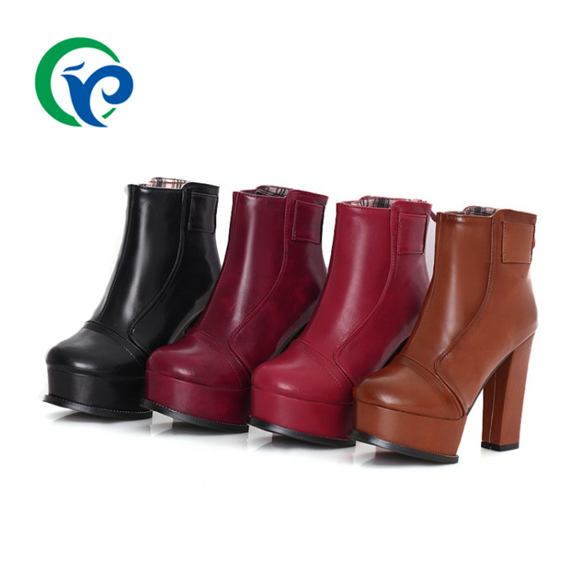 2016 autumn size 34-39 Black Red women shoes Pu leather mid-calf Boots simple style high heel Platform short Boots Free Shipping<br><br>Aliexpress