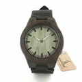 BOBO BIRD B14 Black Sandalwood Watches Green Dial Men Wooden Wristwatch with Black Leather Strap holz