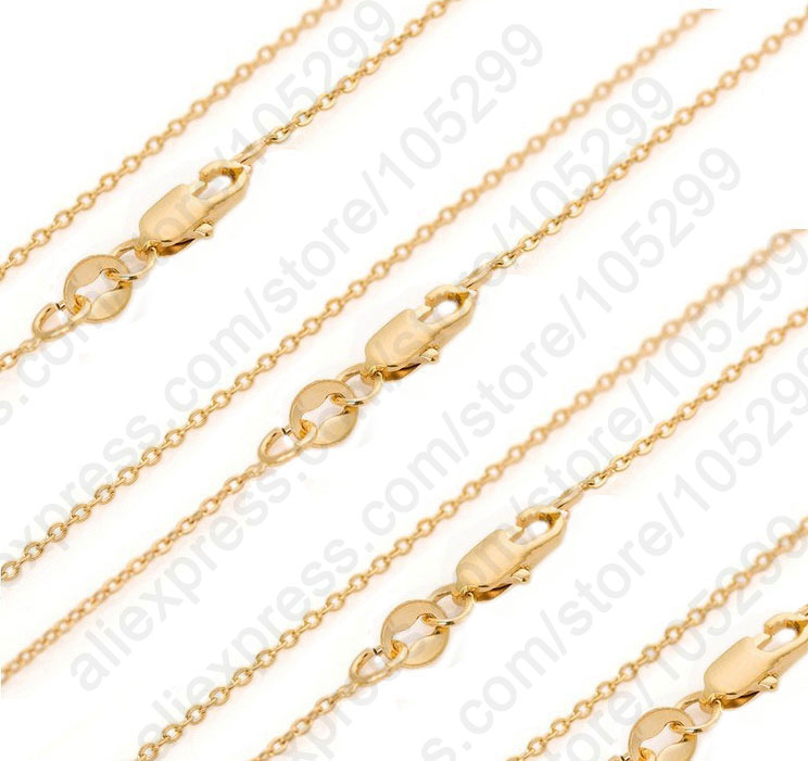 Bulk 10PCS 30 Inch 18K Solid Yellow Gold Filled Jewelry Rolo Link Necklace Chains Lobster Clasps