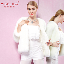 YIGELILA 9375 Winter New Women White Finland Cross Silver Fox Fur Coat(China (Mainland))