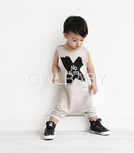 Kikikids moda Unisex BoyS & Girls Cotton NO SLEEP carta mono, Baby BoyS & Girls patrón cruzado mono Pls vea nuestra real Pics(China (Mainland))