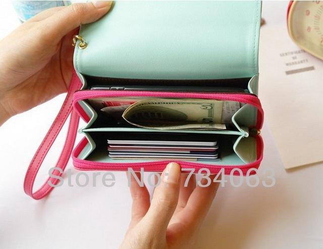 2014 Hot Sale Card Holder Bag Fashion Phone Crown Smart Pouch/Purse PU Leather Wallet Moblie Phone Bag/Case 100pcs/lot (NNS)