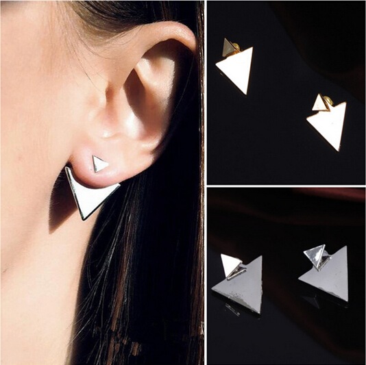 New Arrival Women Triangle Earrings Punk Jewelry Stud Earrings for Women PY005(China (Mainland))
