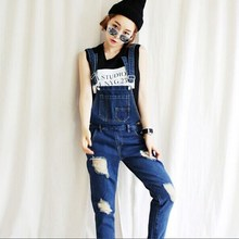 2015 European Style Street Fashion Jeans Jumpsuit women Was Thin Denim Overalls Loose Ripped Beggar Pants Plus Size Hot Sale B2